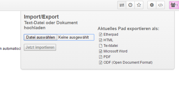 Ansicht des Export/Import Dialogs in Etherpad