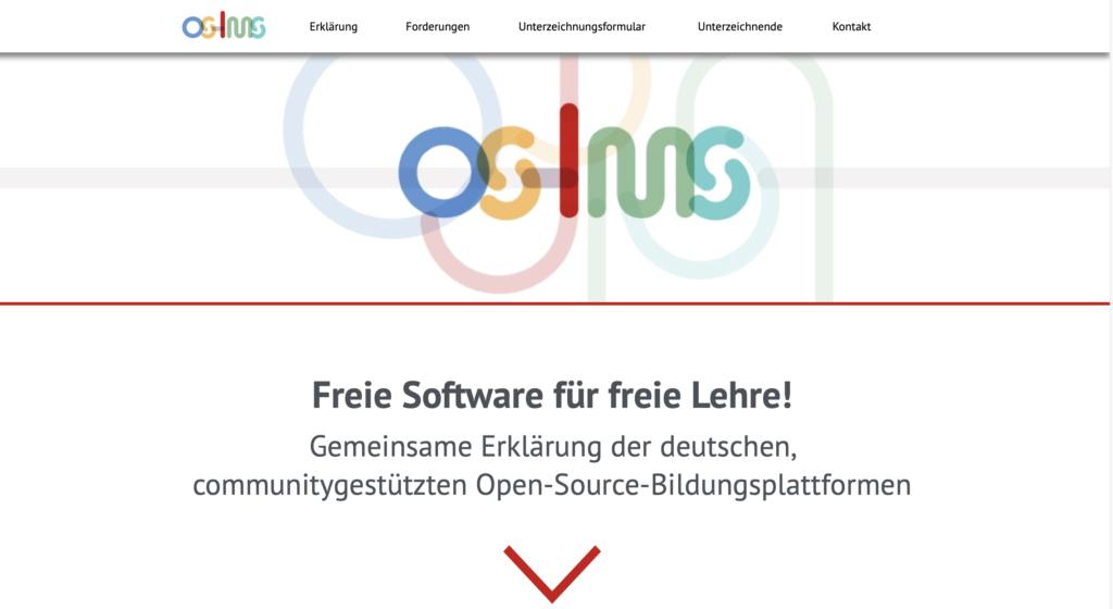 Bildschirmfoto der Webseite Open Source LMS